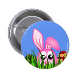 Cute Easter Bunny and Eggs in Grass Round Buttons Pins