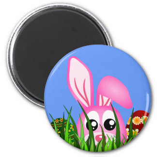 Cute Easter Bunny and Eggs in Grass Round Magnet