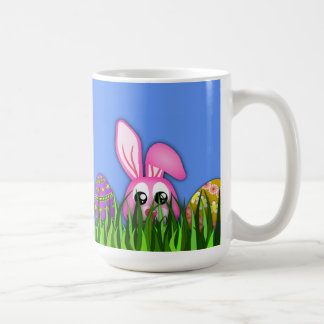 Cute Easter Bunny and Eggs in Grass Standard Mugs Mugs