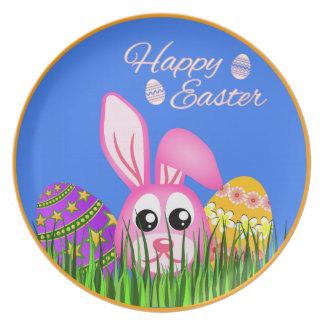 Cute Easter Bunny and Eggs Melamine Plates