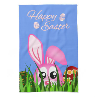 Cute Easter Bunny and Eggs MoJo Kitchen Tea Towels