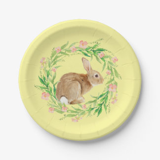 Cute Easter Bunny and Spring Floral Wreath Paper Plate