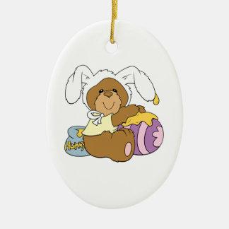 Cute Easter Bunny Bear Double-Sided Oval Ceramic Christmas Ornament