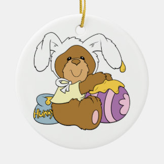 Cute Easter Bunny Bear Double-Sided Ceramic Round Christmas Ornament