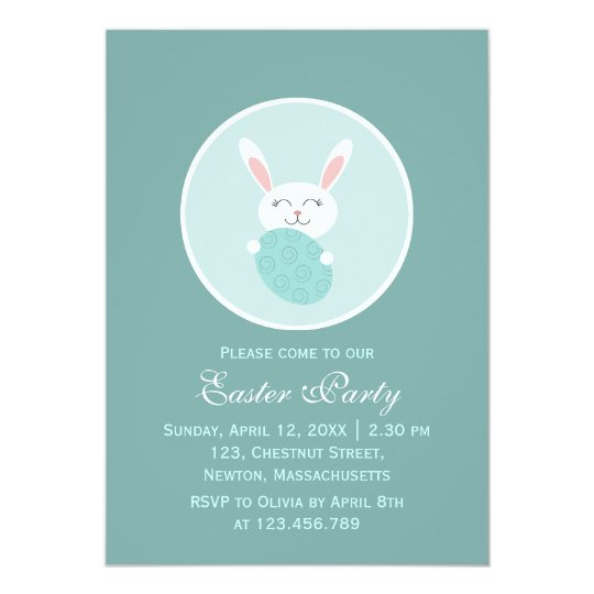 Cute Easter Bunny (Blue) Card