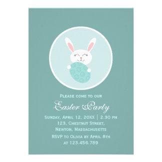 Cute Easter Bunny Blue Custom Invites