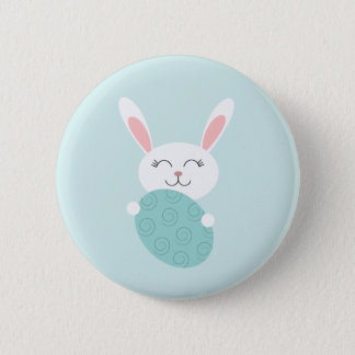 Cute Easter Bunny (Blue) Pinback Button