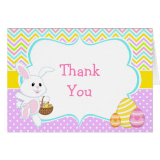 Cute Easter Bunny Easter Egg Hunt Thank You Card