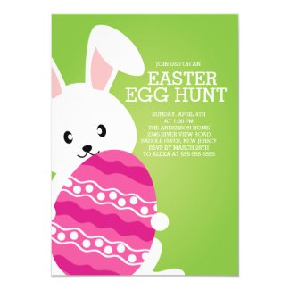 Cute Easter Bunny Egg Hunt Easter Party Invitation