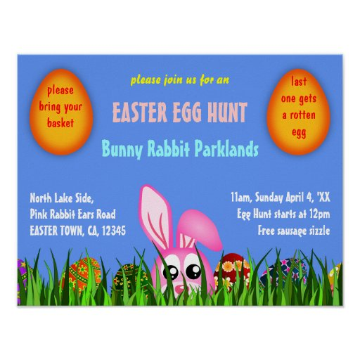 Cute Easter Bunny & Eggs in Grass Egg Hunt Poster Posters