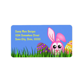 Cute Easter Bunny Eggs Med Return Address Labels