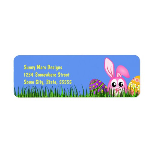 Cute easter bunny eggs small return address labels zazzle for What is the easter bunny s phone number