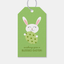 Rabbit gift tags zazzle cute easter bunny green gift tags negle Image collections