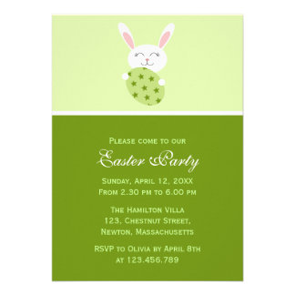 Cute Easter Bunny Green Personalized Invitation