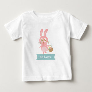 Cute Easter Bunny holding basket of eggs Baby T-Shirt
