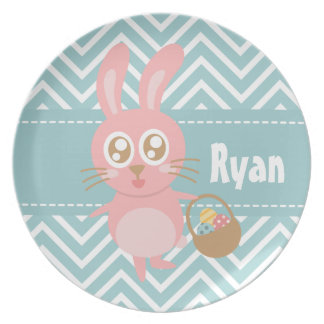 Cute Easter Bunny holding basket of eggs Dinner Plate
