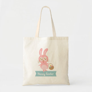 Cute Easter Bunny holding basket of eggs Tote Bag