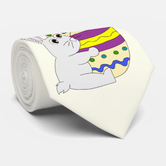 Cute easter bunny holding painted egg tie