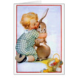 Cute Easter Bunny Hug Greeting Card