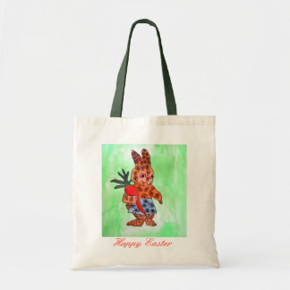 Cute Easter bunny illustration with orange carrot Budget Tote Bag