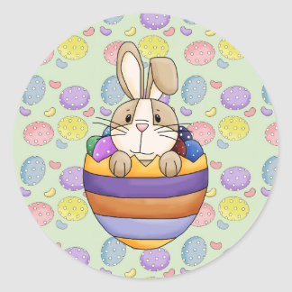 cute easter bunny in rainbow egg classic round sticker