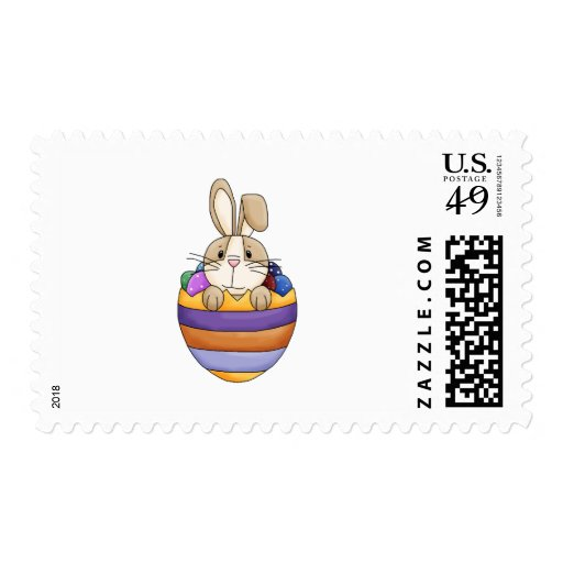 cute easter bunny in rainbow egg postage