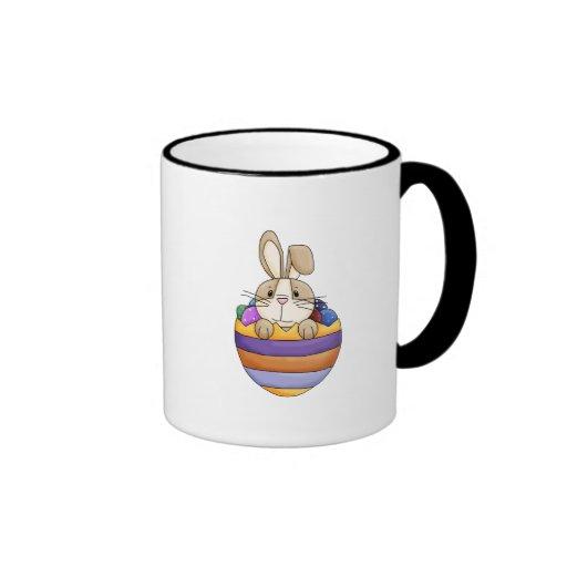 cute easter bunny in rainbow egg ringer coffee mug