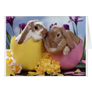 Cute Easter Bunny inside Eggs Greeting Card