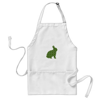 Cute Easter bunny olive green with white spots Adult Apron