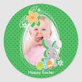 Cute Easter Bunny on green polka dots background Classic Round Sticker