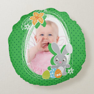 Cute Easter Bunny on green polka dots background Round Pillow