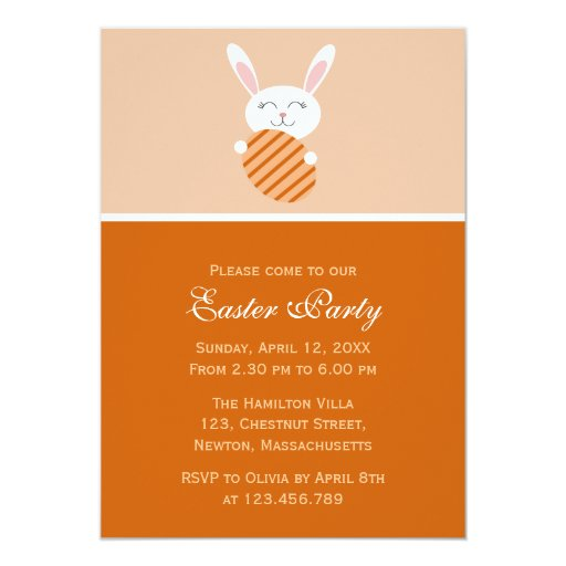 Cute Easter Bunny (Orange) Card