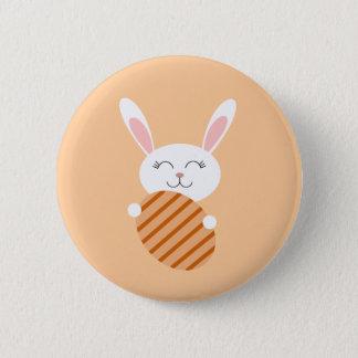 Cute Easter Bunny (Orange) Pinback Button