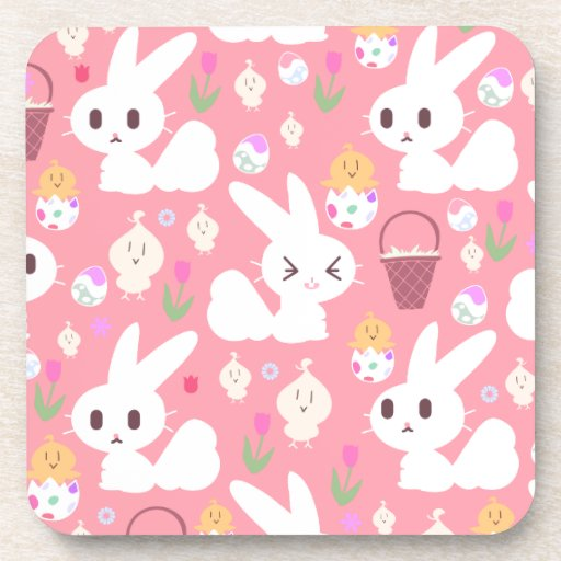 Cute Easter Bunny Pattern Beverage Coaster
