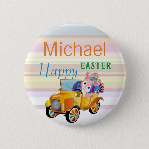 Cute Easter Bunny Personalized Name Kids Button