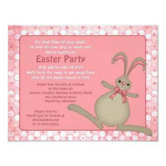 """Cute Easter Bunny Rabbit Easter Party Invitations 4.25"""" X 5.5"""" Invitation Card"""