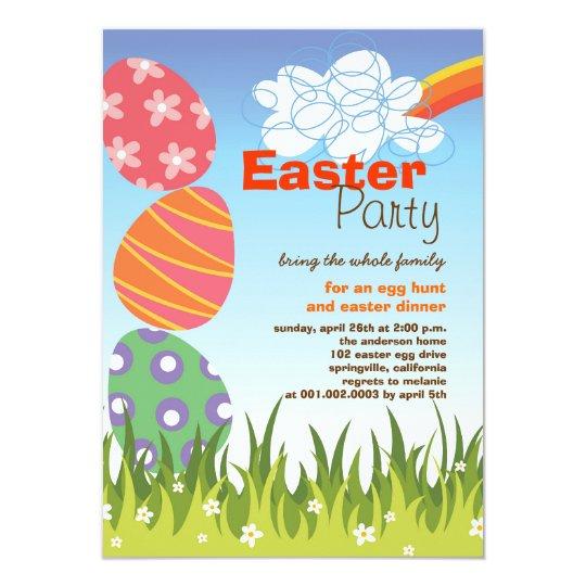 Cute Easter Bunny Rabbit Eggs Rainbow Party Invite