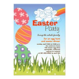 Cute Easter Bunny Rabbit Eggs Rainbow Party Invite Personalized Invitation