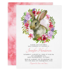 Cute Easter Bunny Rabbit Pink Floral Baby Shower Invitation