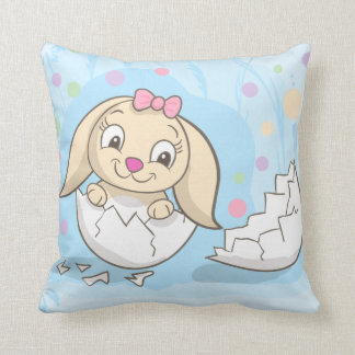 Cute Easter Bunny sitting in Easter Egg Pillow