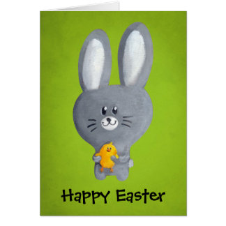 Cute Easter Bunny with chicken Greeting Card