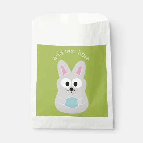 Cute Easter Bunny with Egg and Custom Name Favor Bag