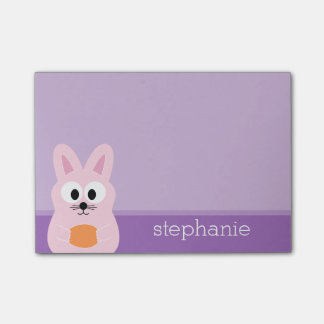 Cute Easter Bunny with Egg and Custom Name pink Post-it Notes