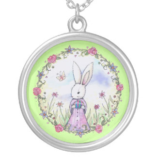 Cute Easter Bunny with Egg Whimsical Art Round Pendant Necklace