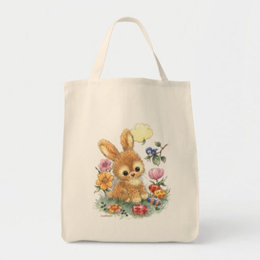 Cute Easter Bunny with Flowers and Eggs Canvas Bags