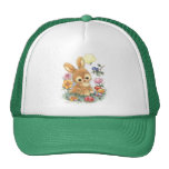 Cute Easter Bunny with Flowers and Eggs Trucker Hat