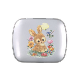 Cute Easter Bunny with Flowers and Eggs Jelly Belly Tin