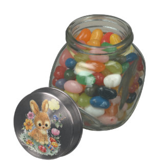 Cute Easter Bunny with Flowers and Eggs Mini Glass Jar