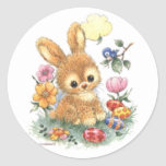 Cute Easter Bunny with Flowers and Eggs Stickers