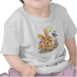 Cute Easter Bunny with Flowers and Eggs T-shirts